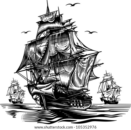 Ship2 engraving picture. Vector illustration - stock vector