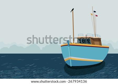 ship float in sea - stock vector