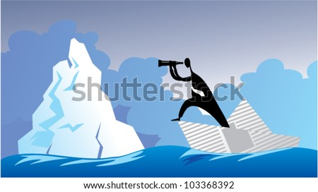 Ship from a newsprint in the sea - stock vector