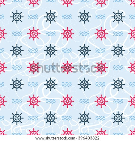 Ship helm vector seamless pattern. Helm, steering wheel, ropes, waves seamless texture. Steering wheel and wave symbols seamless pattern. Ship helm vector wallpaper design. EPS8 vector illustration. - stock vector