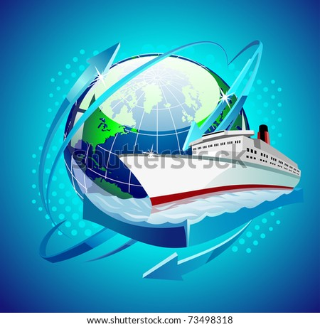 ship in front of the globe - stock vector