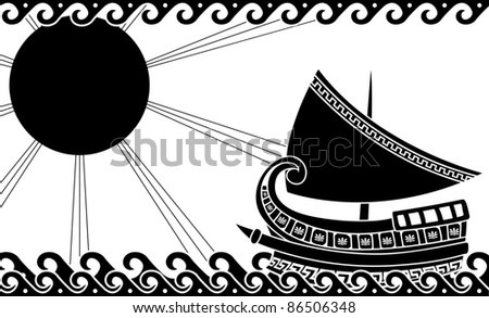 Ship in ocean in classic greek style. stencil - stock vector