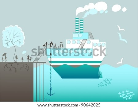 ship moored in the port , passengers go ashore - stock vector