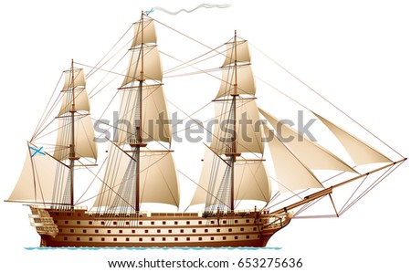 Pirate ship sailing ship under jolly stock vector for Pirate ship sails template