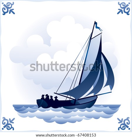 Ship on the Blue Dutch tile 3, Sailboat, the Sailing vessel with a totality of sails,glazed porcelain ceramic