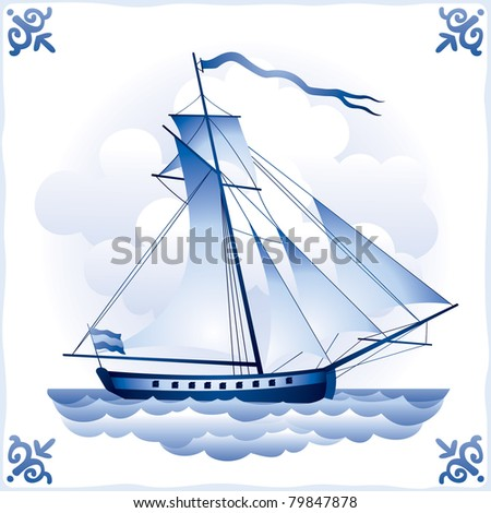 Ship on the Blue Dutch tile 6, the sailing yacht, glazed porcelain ceramic, PATTERN, a Sailing vessel with a totality of sails