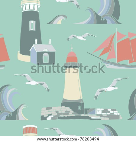 Ship on the sea seamless background - stock vector