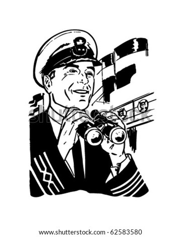 Ship's Captain - Retro Clipart Illustration - stock vector