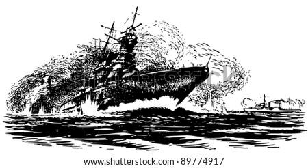 Ship's drowning - stock vector