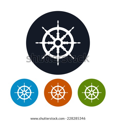 Ship's wheel icon  ,for marine design,the four types of colorful round icons,vector illustration - stock vector