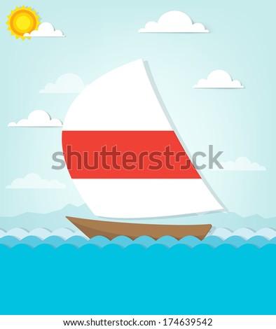 ship sails on the sea - stock vector
