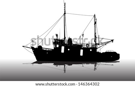 Ship silhouette on the sea - stock vector