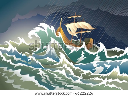 Ship sinking in the storm, vector illustration - stock vector