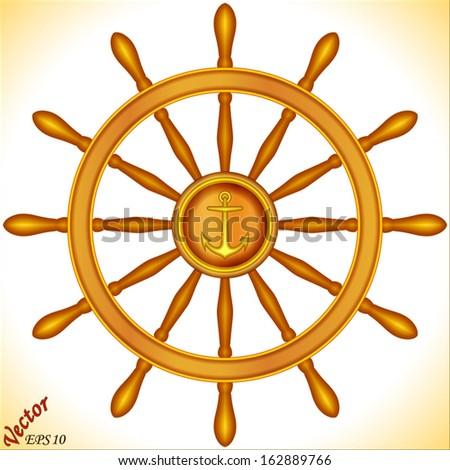 Ship steering wheel - stock vector