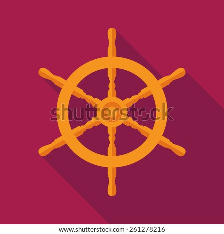 ship steering wheel icon with long shadow. flat style vector illustration - stock vector