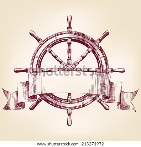 ship steering wheel vintage drawing vector illustration - stock vector