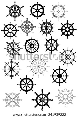 Ship steering wheels in retro style for nautical and heraldic design - stock vector