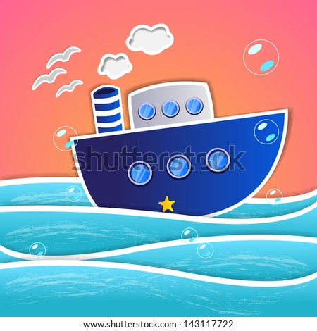 Ship - Summer Background - Vector Illustration, Graphic Design Editable For Your Design