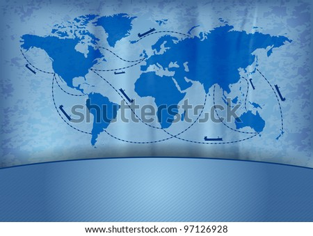 ship transportation on the blue map - stock vector