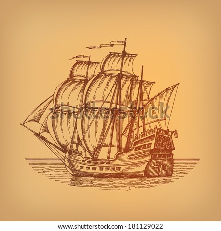 Ship. Vector - stock vector