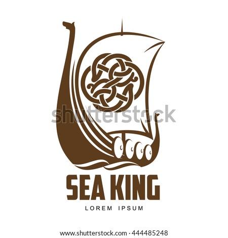 ship viking logo vector simple illustration stock vector 444485248