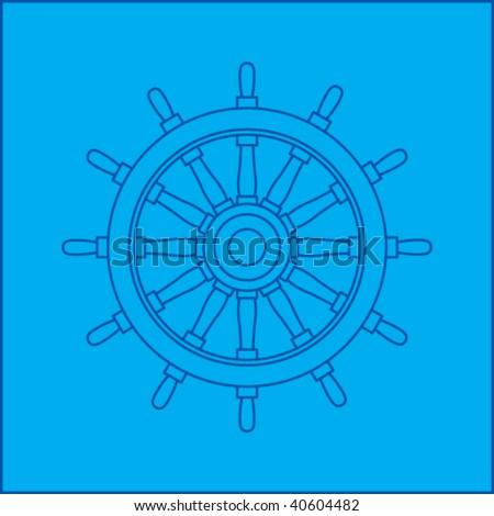 ship wheel blueprint - stock vector