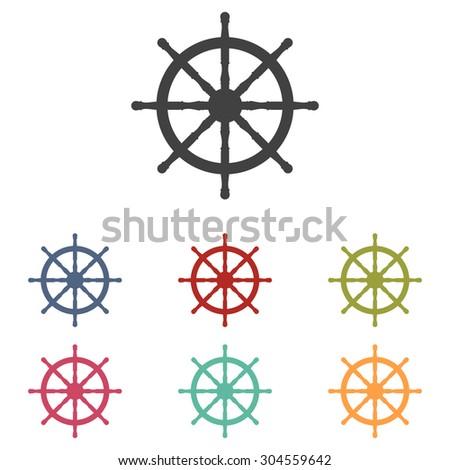 Ship wheel. Vector illustration set - stock vector