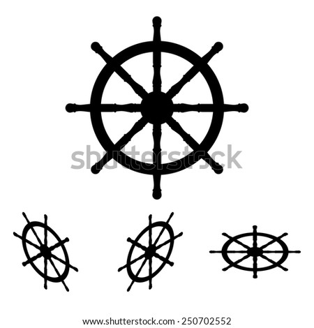 Ship wheel. Vector illustration  set. Isometric effect - stock vector