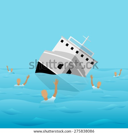 Ship-Wreck Icon. Vector Illustration for banners, card, posters - stock vector