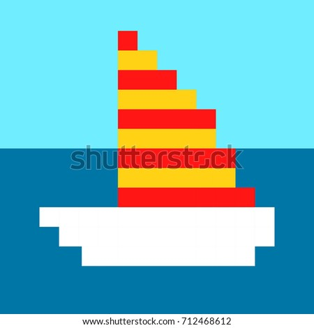 Ship yacht boat pixel art cartoon retro game style