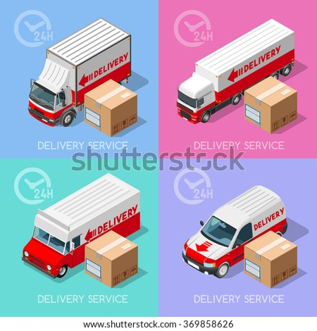 Shipment and Delivery Transport Service Elements Vehicles Collection. NEW colorful bright 3D Flat Vector Icon Set. Van and Truck worldwide fast and ensured 24h shipping. Express home delivery - stock vector