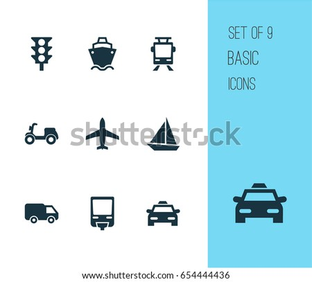 Shipment Icons Set. Collection Of Railroad, Tanker, Stoplight And Other Elements. Also Includes Symbols Such As Van, Ship, Monorail.