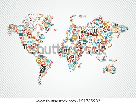 Shipping and delivery icons in world map shape illustration. Vector layered for easy editing. - stock vector
