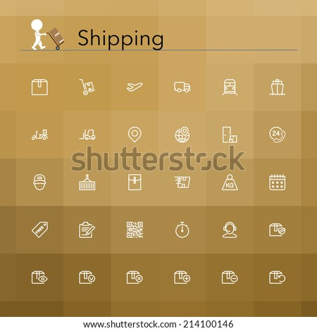 Shipping and delivery line Icons set. Vector illustration. - stock vector
