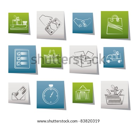 Shipping and logistic icons - vector icon set - stock vector