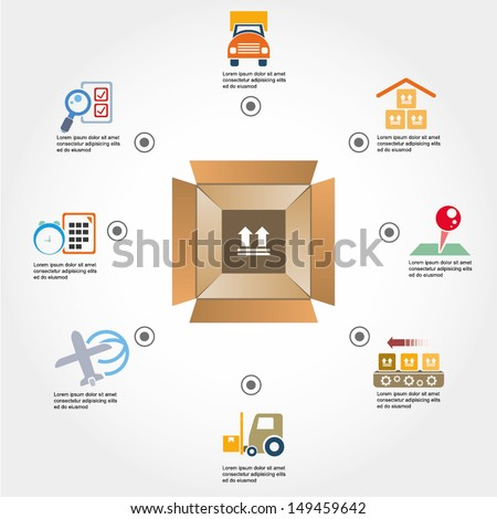 shipping and logistics concept info graphic, icons - stock vector