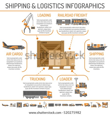 Shipping and logistics Concept infographics with Two Color Icons Set such as air cargo, trucking, ship, railroad freight Isolated vector illustration.