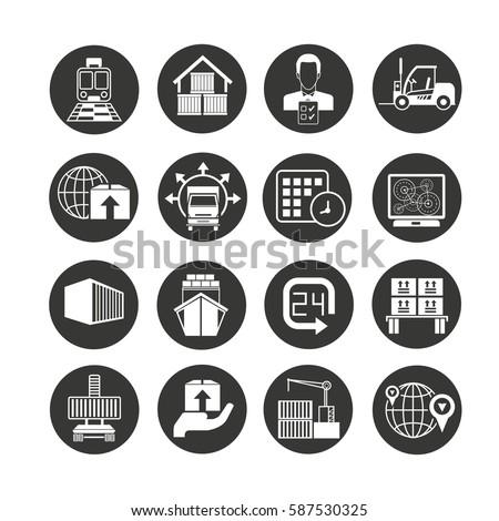 shipping logistics icon set circle button stock vector royalty free