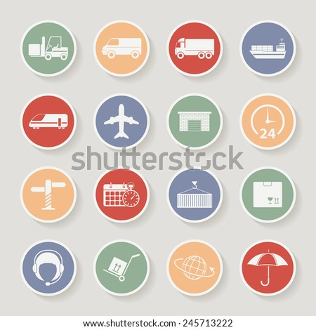 Shipping and Logistics Round Icons. Vector illustration