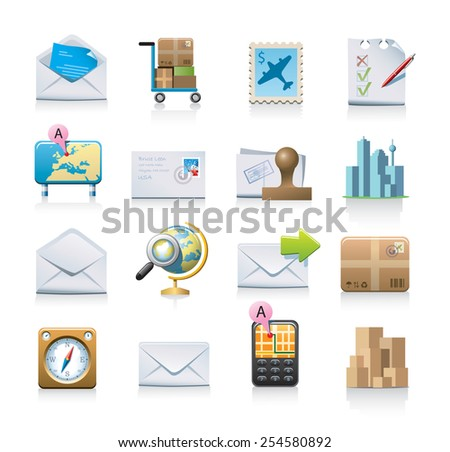 Shipping and mailing icons - stock vector