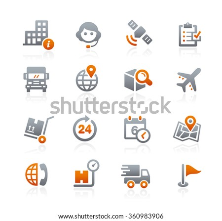 Shipping and Tracking Icons // Graphite Series - stock vector
