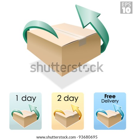 Shipping box, free delivery, return package - stock vector