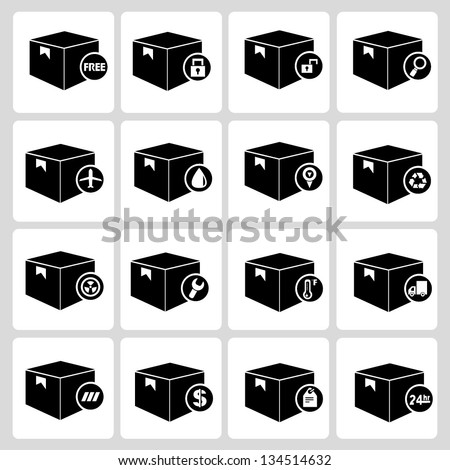 shipping box icons set - stock vector