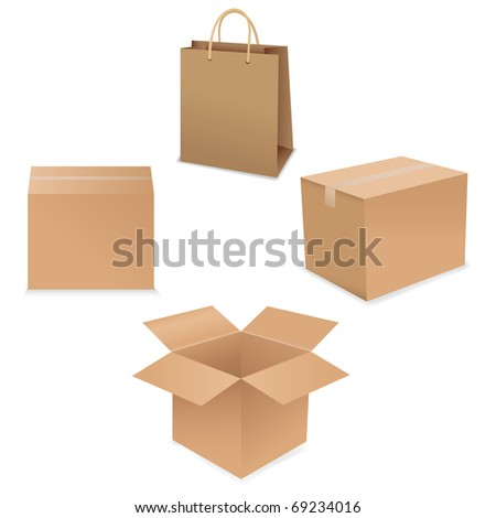 Shipping Box Set, Isolated On White Background, Vector Illustration - stock vector