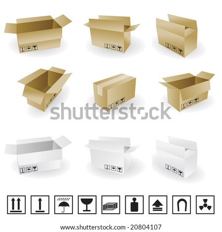 shipping box vector and Box Icon and Signs - stock vector