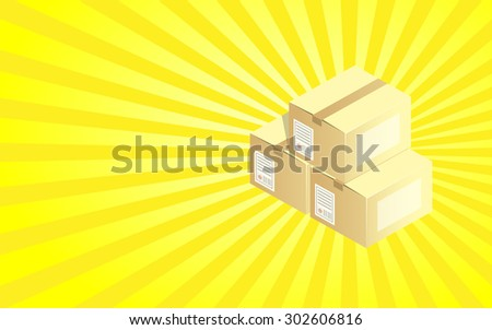 Shipping Boxes Background - stock vector