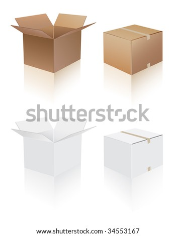 shipping boxes collection - stock vector