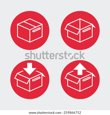 Shipping boxes, flat icon design. Retail and commercial symbols. - stock vector