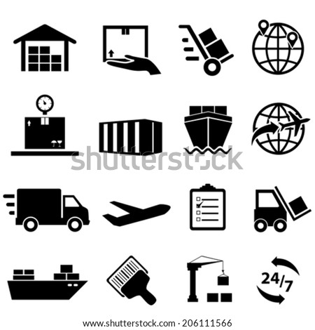 Shipping, cargo and logistic icon set - stock vector