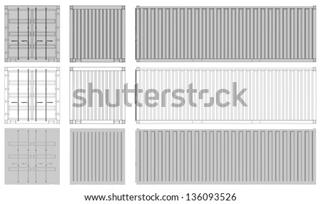 Shipping Container Front/Back/Side view | EPS10 Vector - stock vector